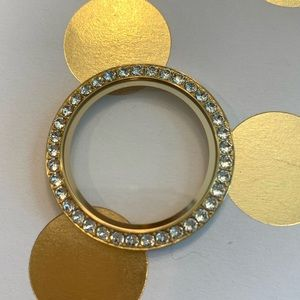 Origami Owl gold Swarovski twist locket face